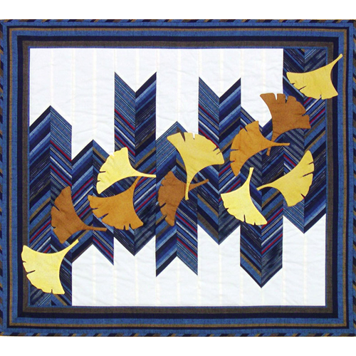 Japanese Hawk Feathers & Gingko by Kitty Pippen Sashiko Pattern Design