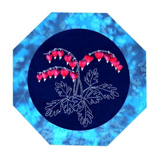 Bleeding Heart American Wildflowers Pattern Sashiko & Applique Design