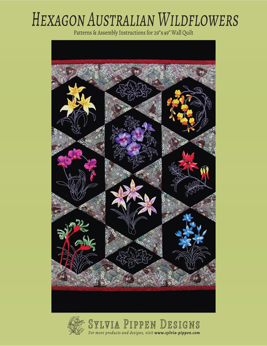 Australian Wildflowers Hexagon Pattern Sashiko & Applique Design