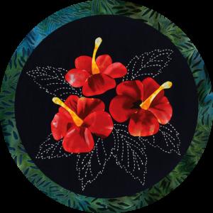 Hibiscus Tropical Flowers Sashiko & Applique Fabric Kit