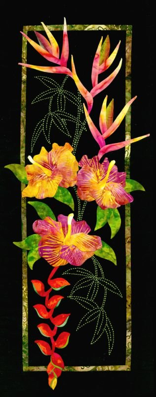 Hibiscus & Heliconia Exotic Flowers Pattern Sashiko & Applique Design