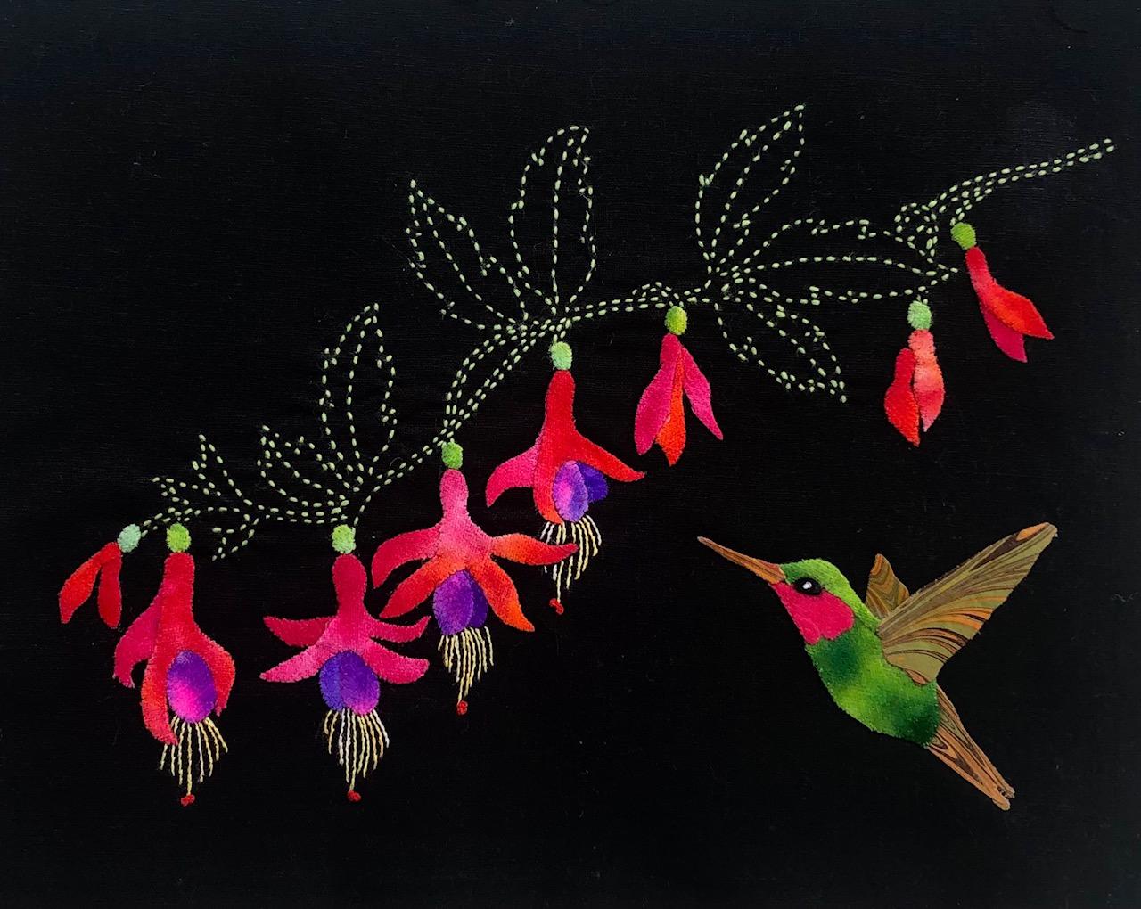 Hummingbird & Fuchsias Block #3 Garden Vignettes Mystery BOM 2021