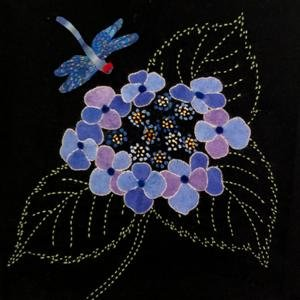 Hydrangeas & Dragonfly Block #4 Garden Vignettes Mystery BOM