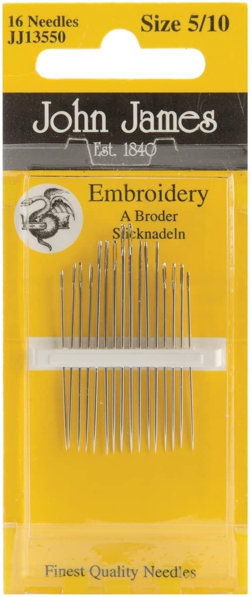 John James Embroidery Needles Size 3/9 - 16 count JJ13539