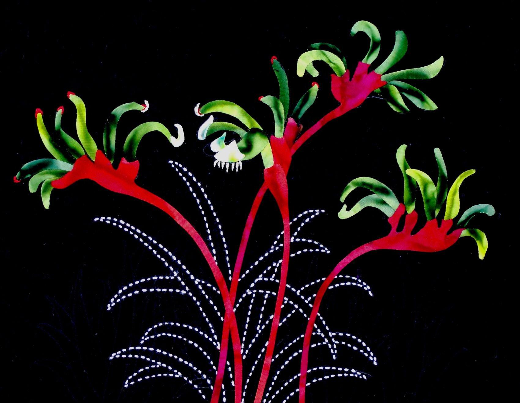 Kangaroo Paws Australian Wildflowers Pattern Sashiko & Applique Design