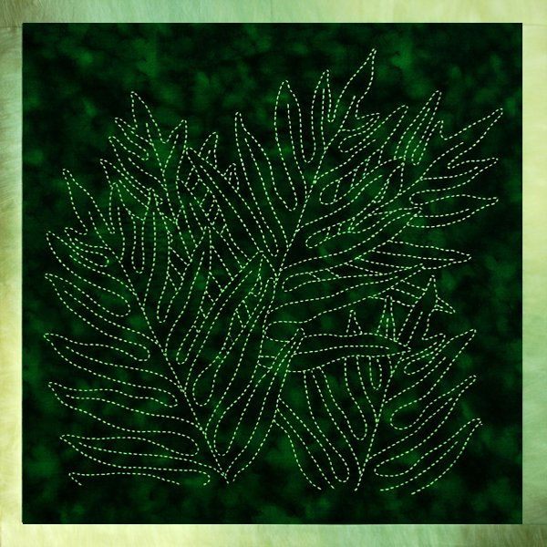 Laua'e Fern Sashiko Panel Pre-printed on Moda Marbles Cotton Fabric