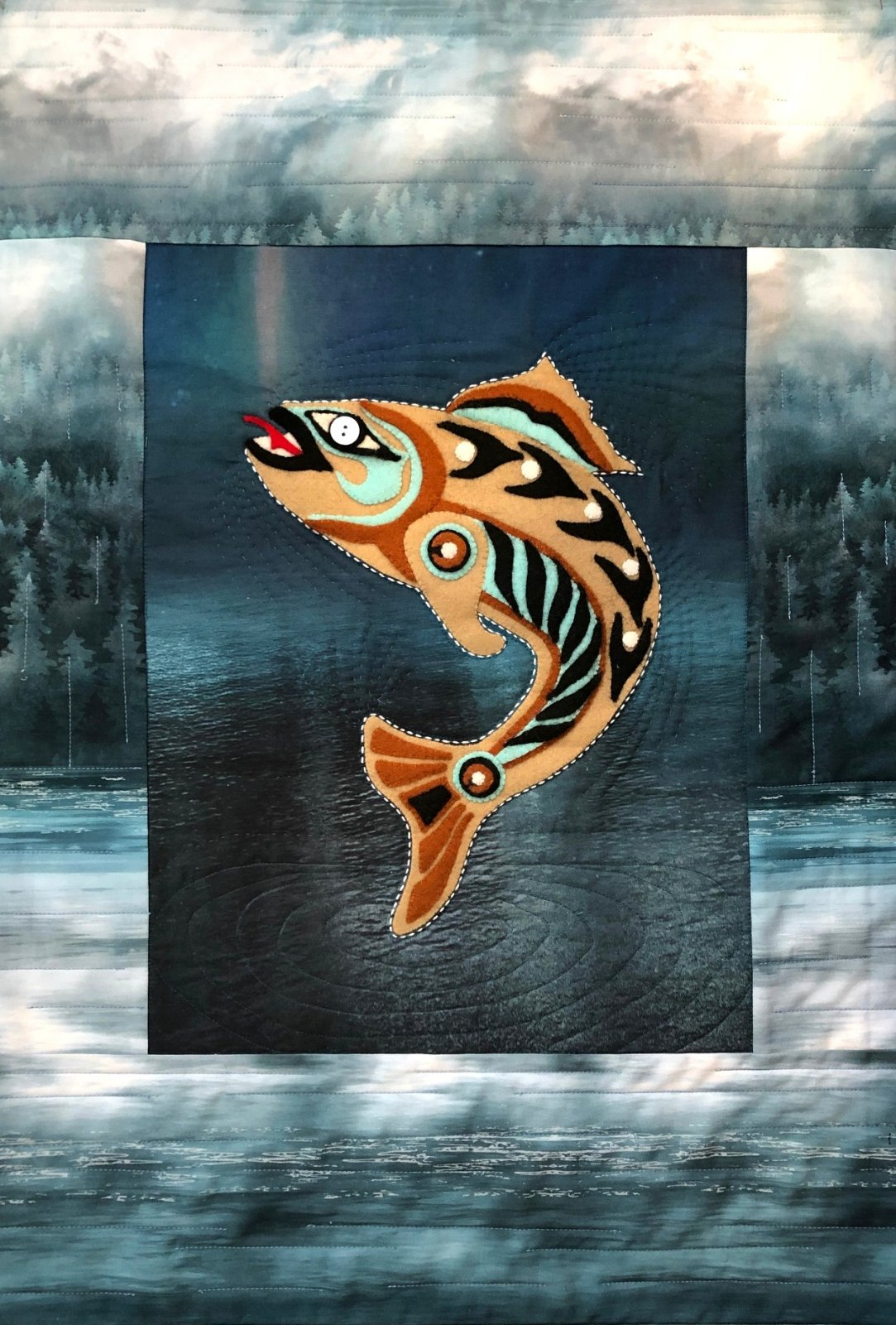 Leaping Salmon Wool applique & Sashiko fabric kit