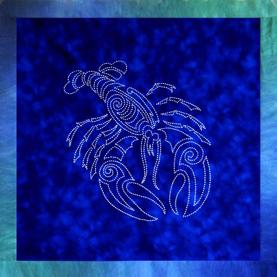 Lobster Sashiko Panel Pre-printed on Sealife Blue Moda Marbles Fabric