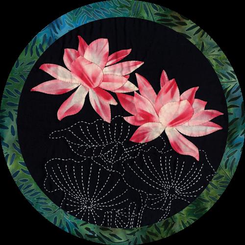 Lotus Tropical Flowers Sashiko & Applique Fabric Kit