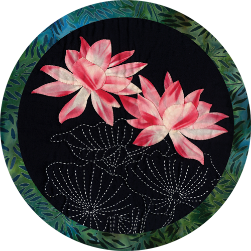 Lotus Tropical Flower Round Quilt Pattern Sashiko & Applique Design