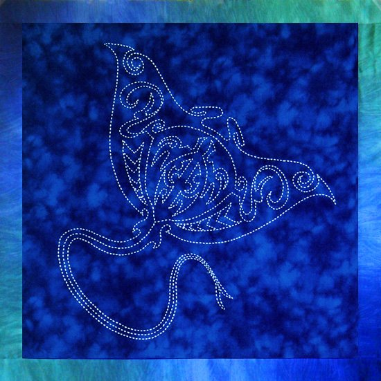 Manta Ray Sashiko Panel Pre-printed on Sealife Blue Moda Marbles Fabric