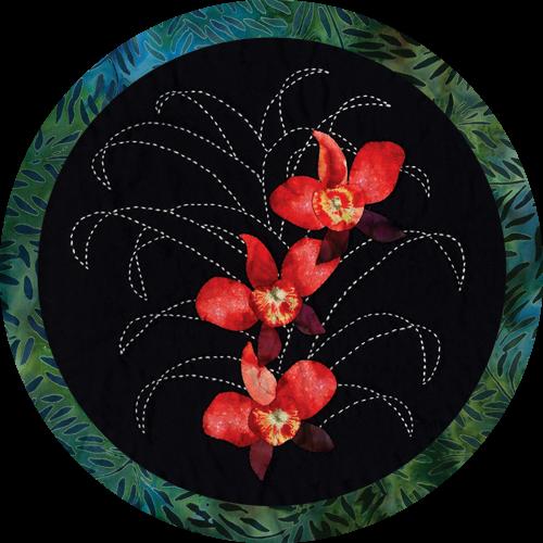 Moth Orchid Tropical Flower Quilt Pattern Sashiko & Applique Design