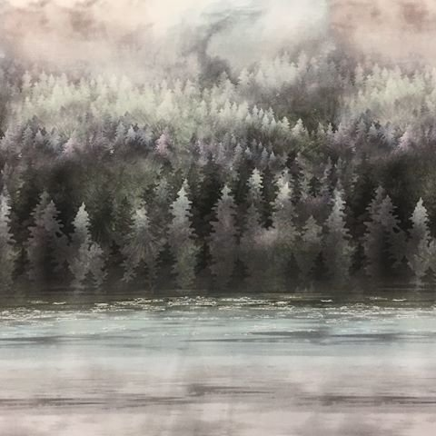 Painted Forest Sky, Trees, & Water by McKenna Ryan for Hoffman Fabrics