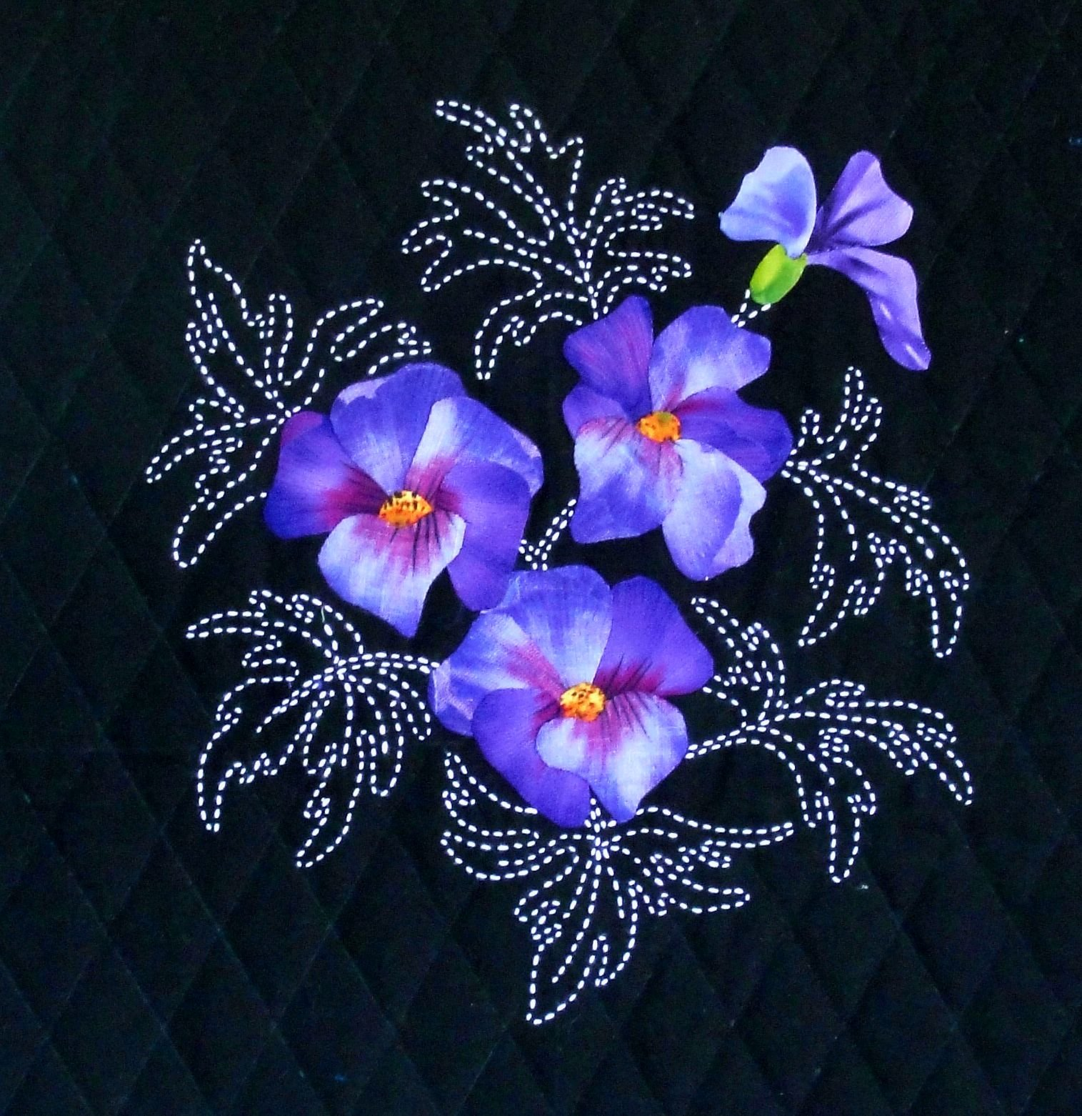 Native Hibiscus Australian Wildflower Pattern Sashiko & Applique Design