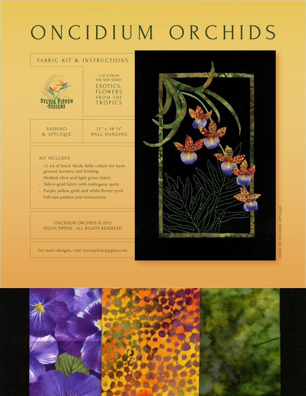Oncidium Orchids Exotic Flowers Sashiko & Applique Fabric Kit