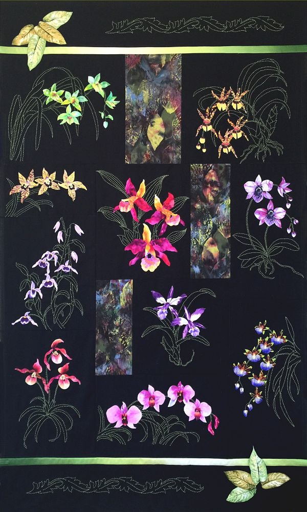 Orchids of Hawaii Sashiko & Applique Complete Block of the Month Quilt Kit