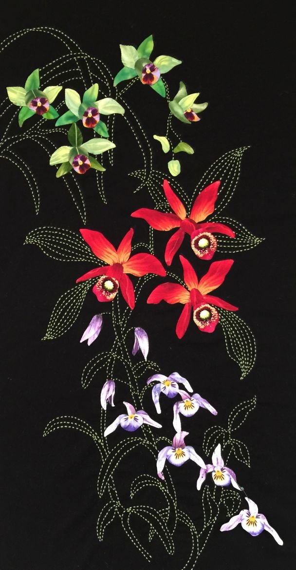 Orchid Cascade Exotic Flowers Pattern Sashiko & Applique Design