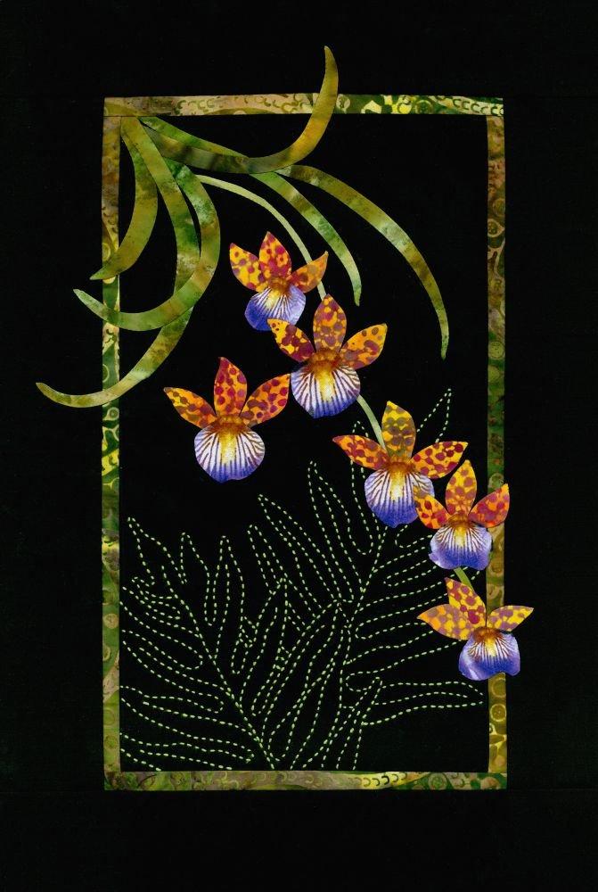Oncidium Orchids Exotic Flowers Pattern Sashiko & Applique Design