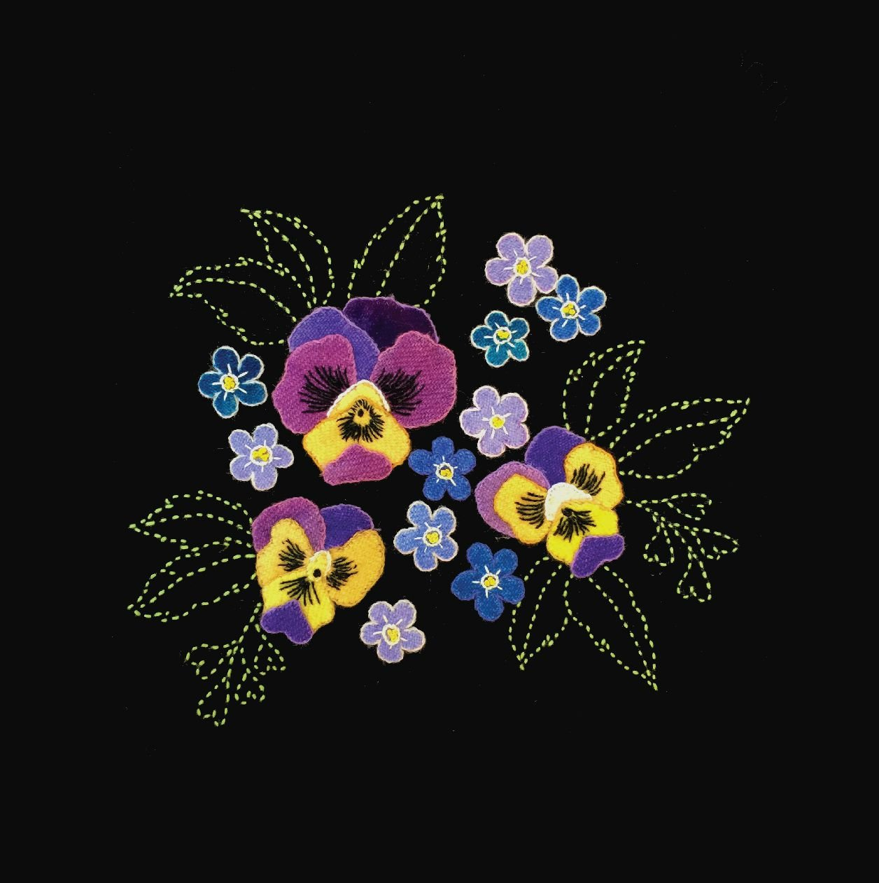 Perennial Favorites Pansies & Forget-Me-Nots Wool Applique & Sashiko Fabric Kit