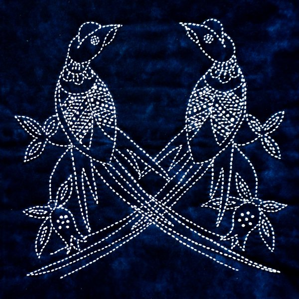 Pheasants Chinese Bird Sashiko Panel Pre-printed on Indigo Moda Fabric