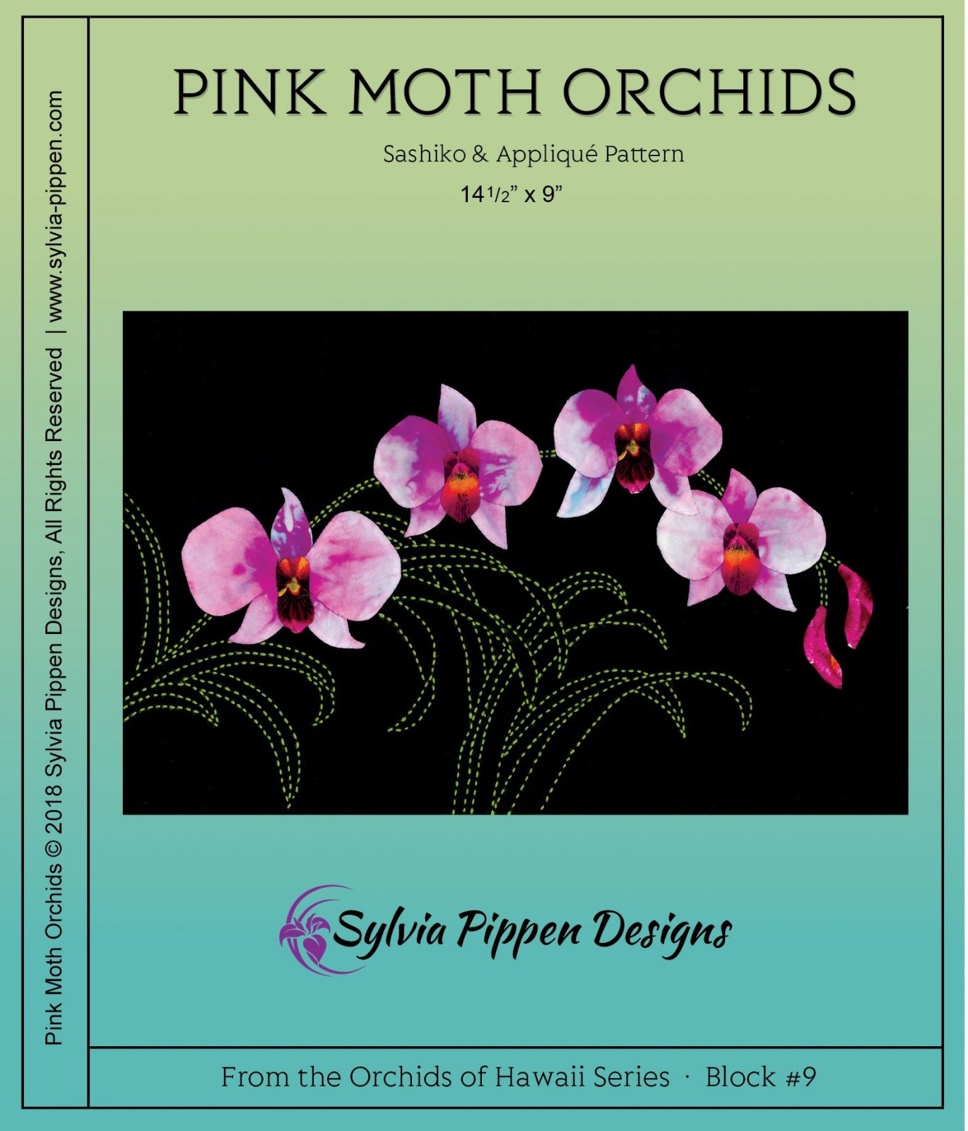 Pink Moth Orchids Sashiko & Applique Pattern from the Orchids Of Hawaii Series