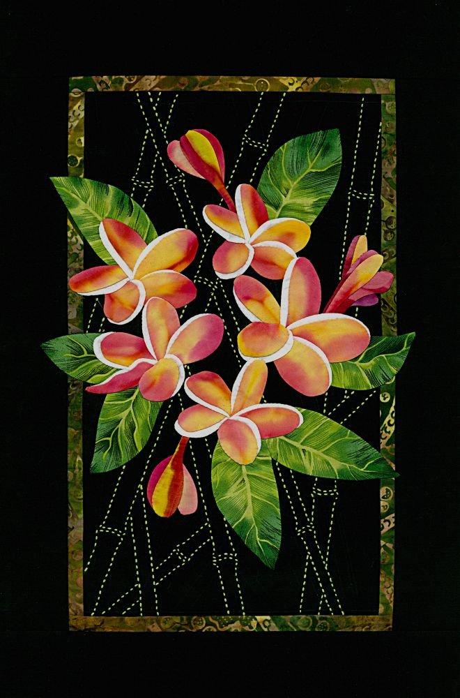 Plumeria & Bamboo Exotic Flowers Pattern Sashiko & Applique Design