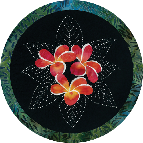 Plumeria Tropical Flowers Sashiko & Applique Fabric Kit