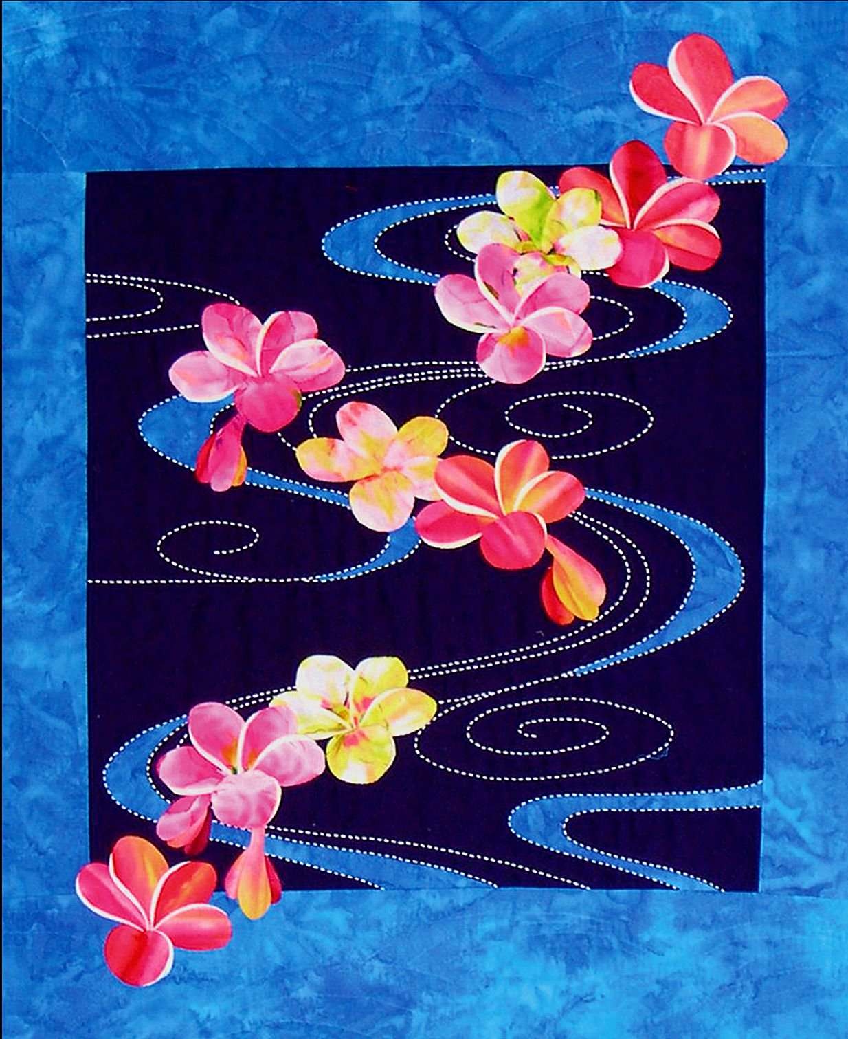 Plumeria Floating on Water Pre-printed Sashiko & Applique Fabric Kit