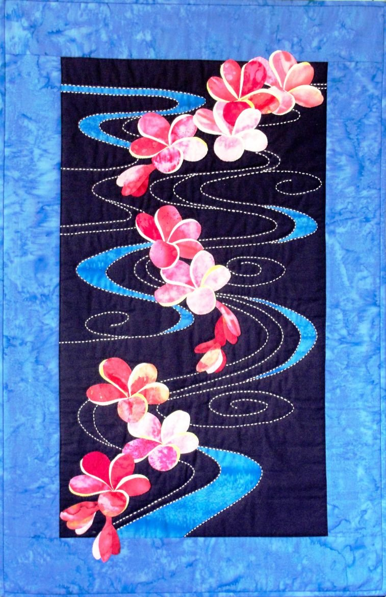 Plumeria Floating on Water Quilt Pattern Sashiko & Applique Design