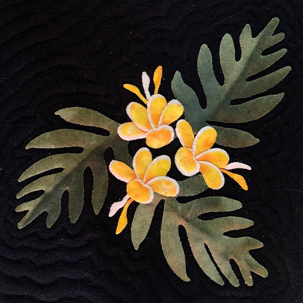 Plumeria & Ferns Wool Fabric Kit Block #1