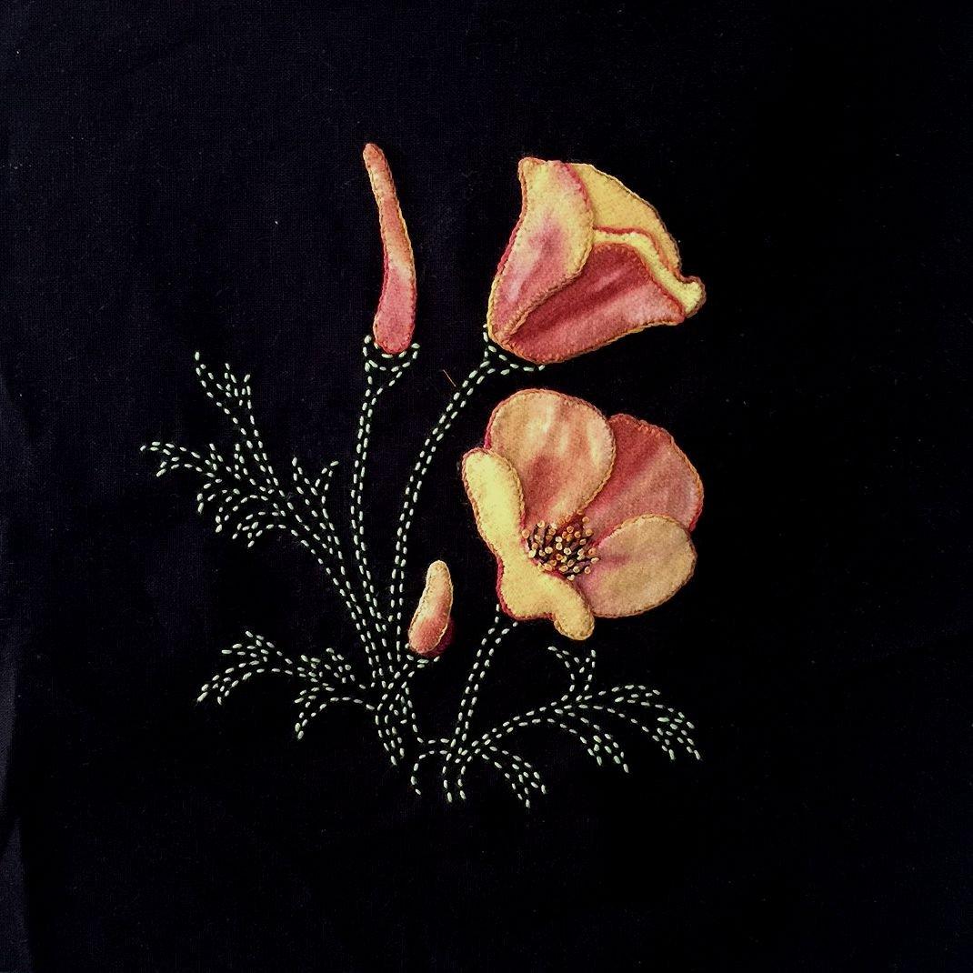 Perennial Favorites California Poppies Wool Applique & Sashiko Fabric Kit