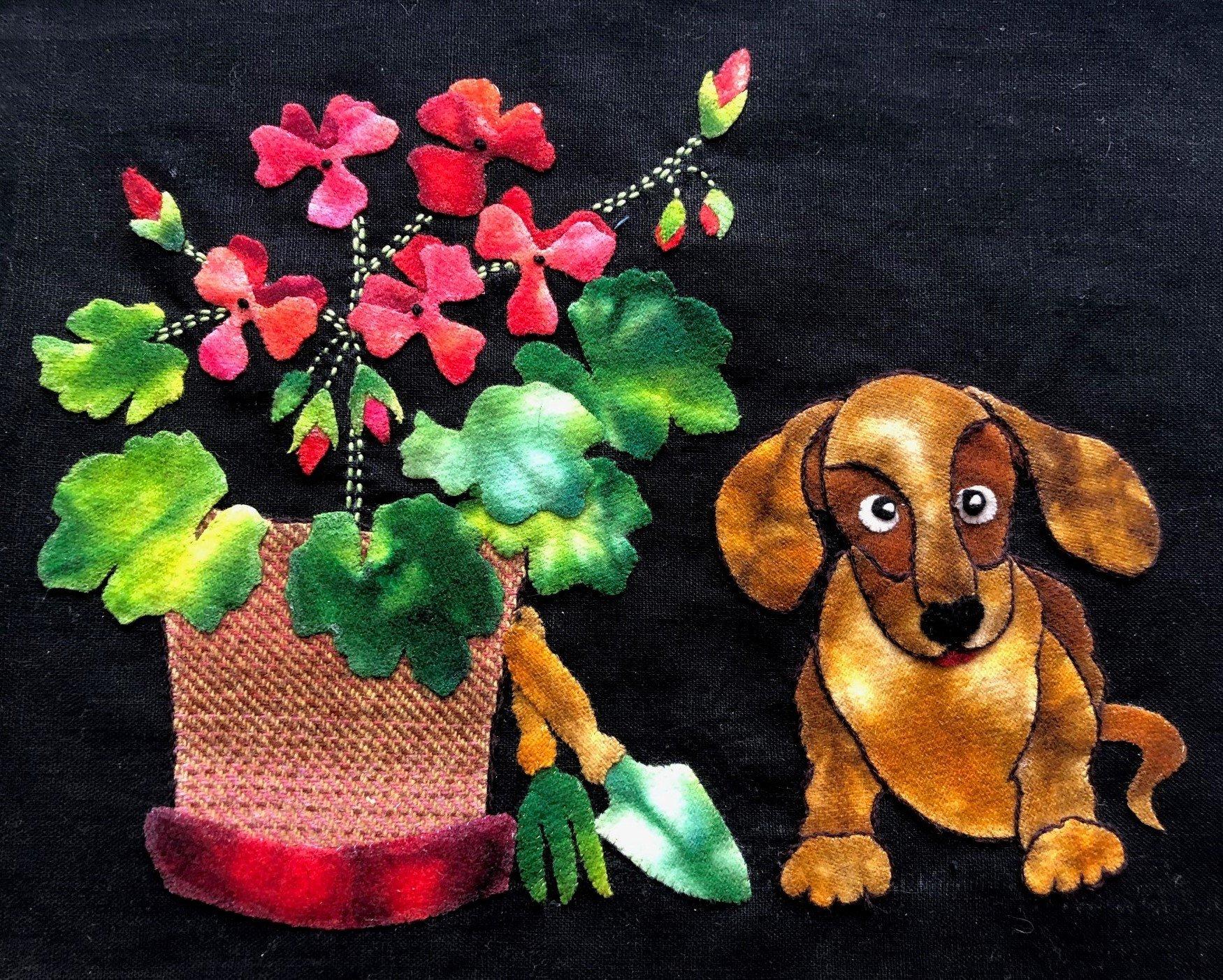 Puppy Love Block #7 Garden Vignettes Mystery BOM
