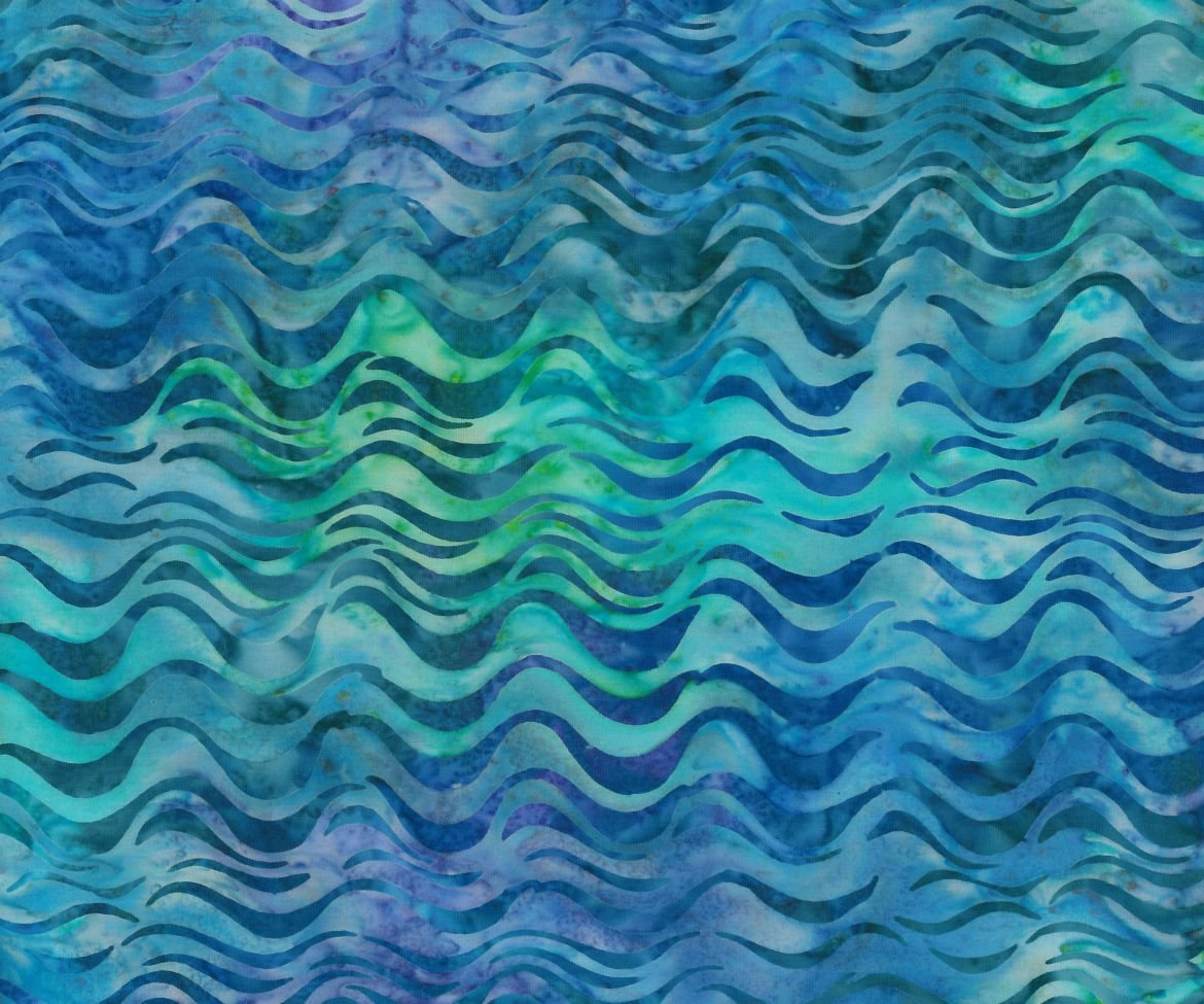 Ocean Waves Blue -Green Batik by Robert Kaufman
