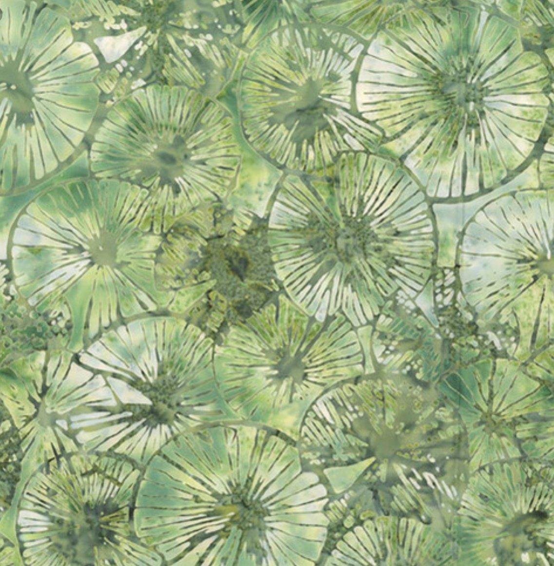 Textured Lily Pads Balsam Bali Batik from Hoffman Fabrics