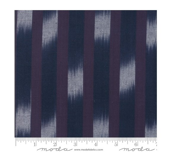 Moda Boro Wovens Dark Indigo Ikat Stripe 12560 36