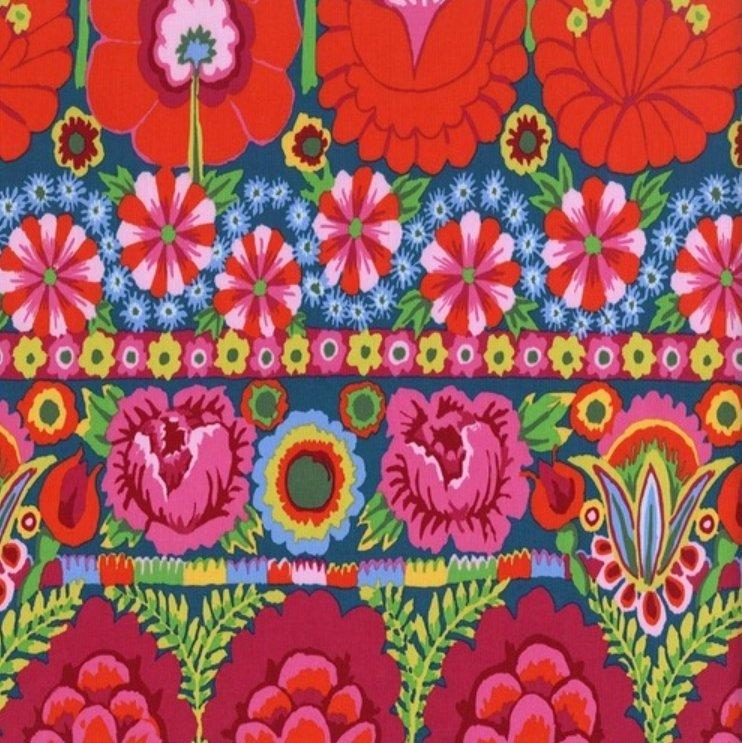 Embroidered Flower Border - Red by Kaffe Fassett