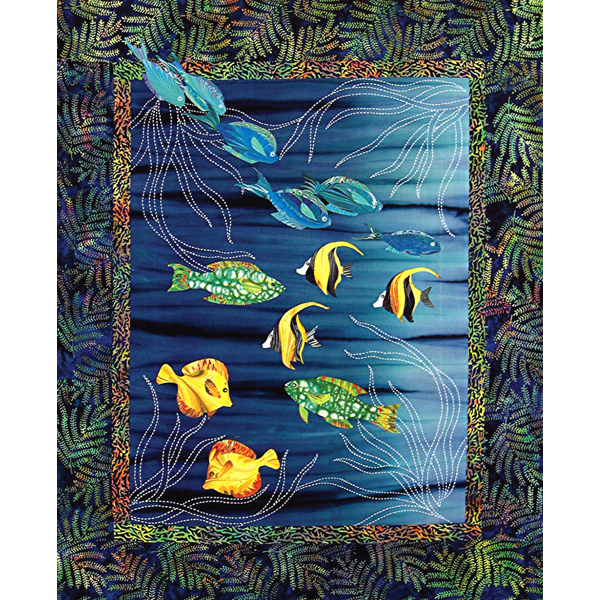 Sea Grass & Fish Japanese Quilt Pattern Sashiko & Applique Design