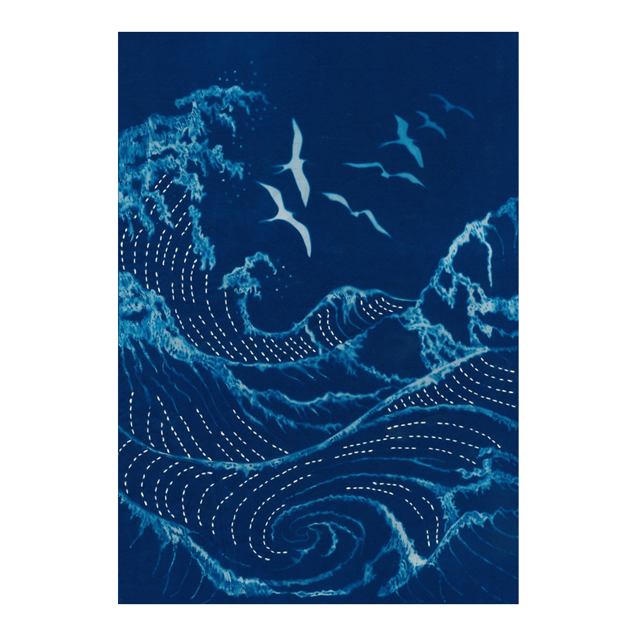 Seagulls & Waves Cyanotype Pre-printed Japanese Sashiko Fabric Panel