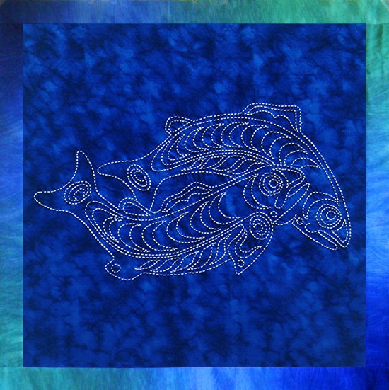 Sockeye Salmon Sashiko Panel Pre-printed on Sealife Blue Moda Fabric