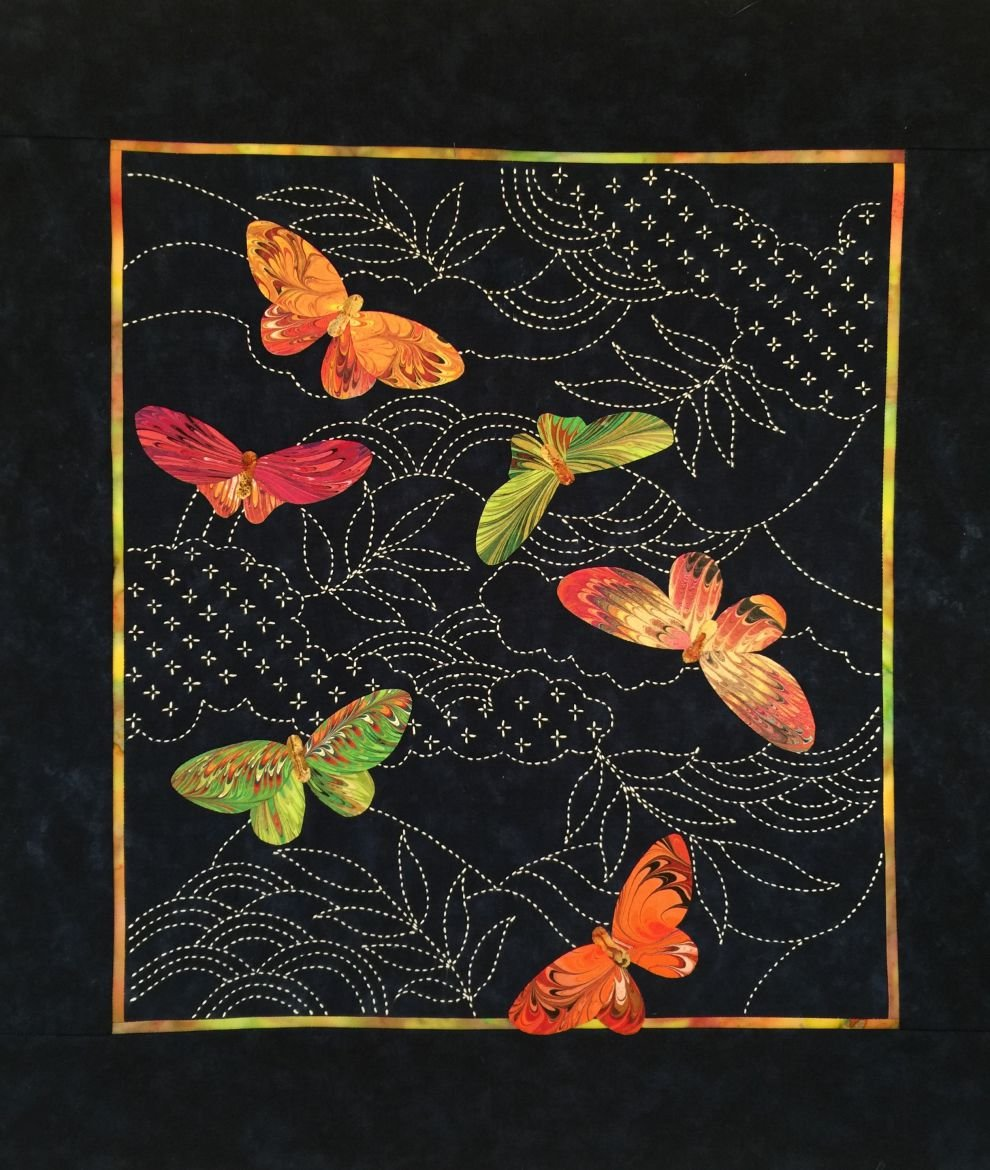 Butterflies & Sashiko Japanese Pre-printed Marbled Fabric Kit