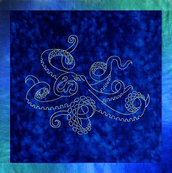 Tako Octopus Sashiko Panel Pre-printed on Sealife Blue Moda Fabric