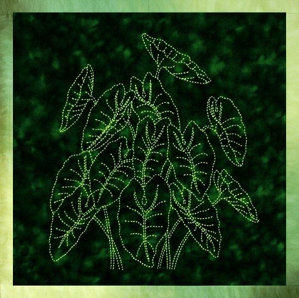 Taro Plant Sashiko Panel Pre-printed on Green Moda Marbles Fabric