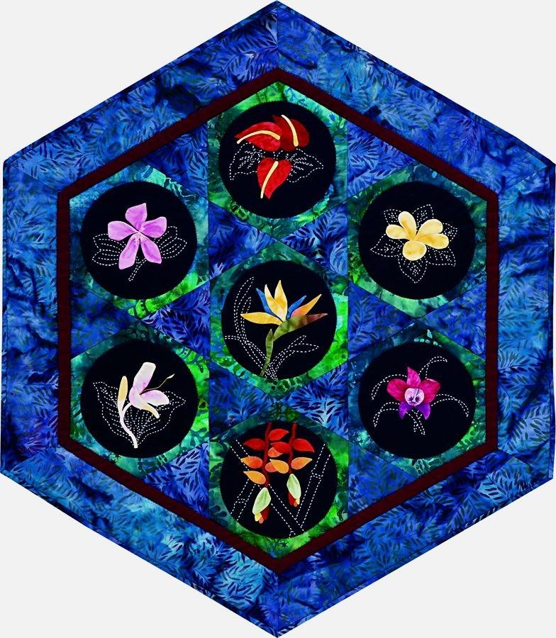 Tropical Flowers Hexagon Centerpiece Complete 7-Pattern Set
