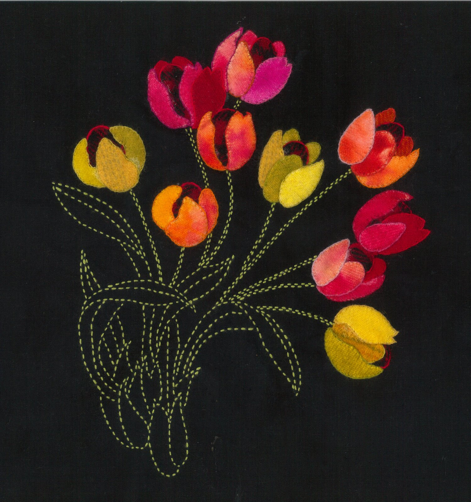 Spring Tulips Sashiko and Wool Applique Fabric Kit