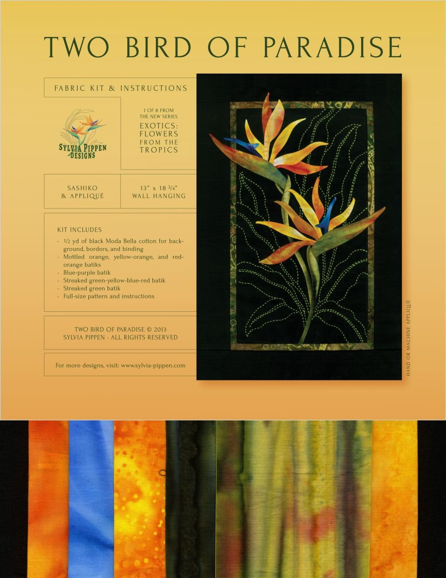 Two Bird of Paradise Exotic Flowers Sashiko & Applique Fabric Kit