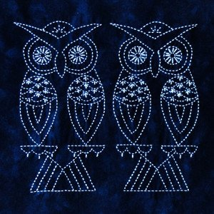 Two Owls Chinese Bird Sashiko Panel Pre-printed on Indigo Moda Fabric