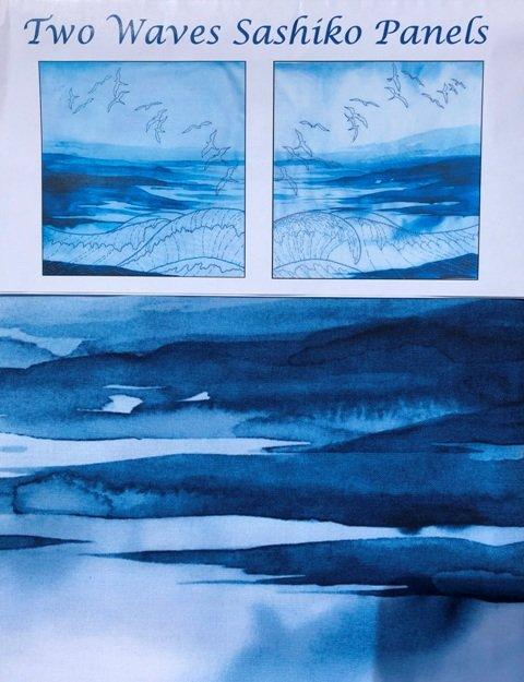 Two Waves Sashiko Panels