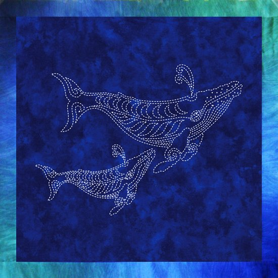 Two Whales Sashiko Fabric Panel Pre-printed on Kaufman Indigo Batik