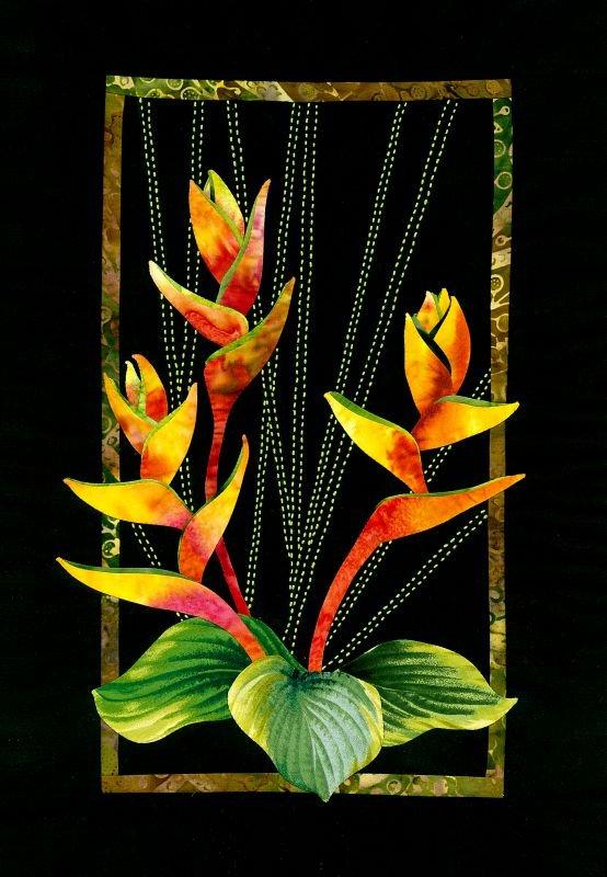 Upright Heliconia Exotic Flowers Pattern Sashiko & Applique Design