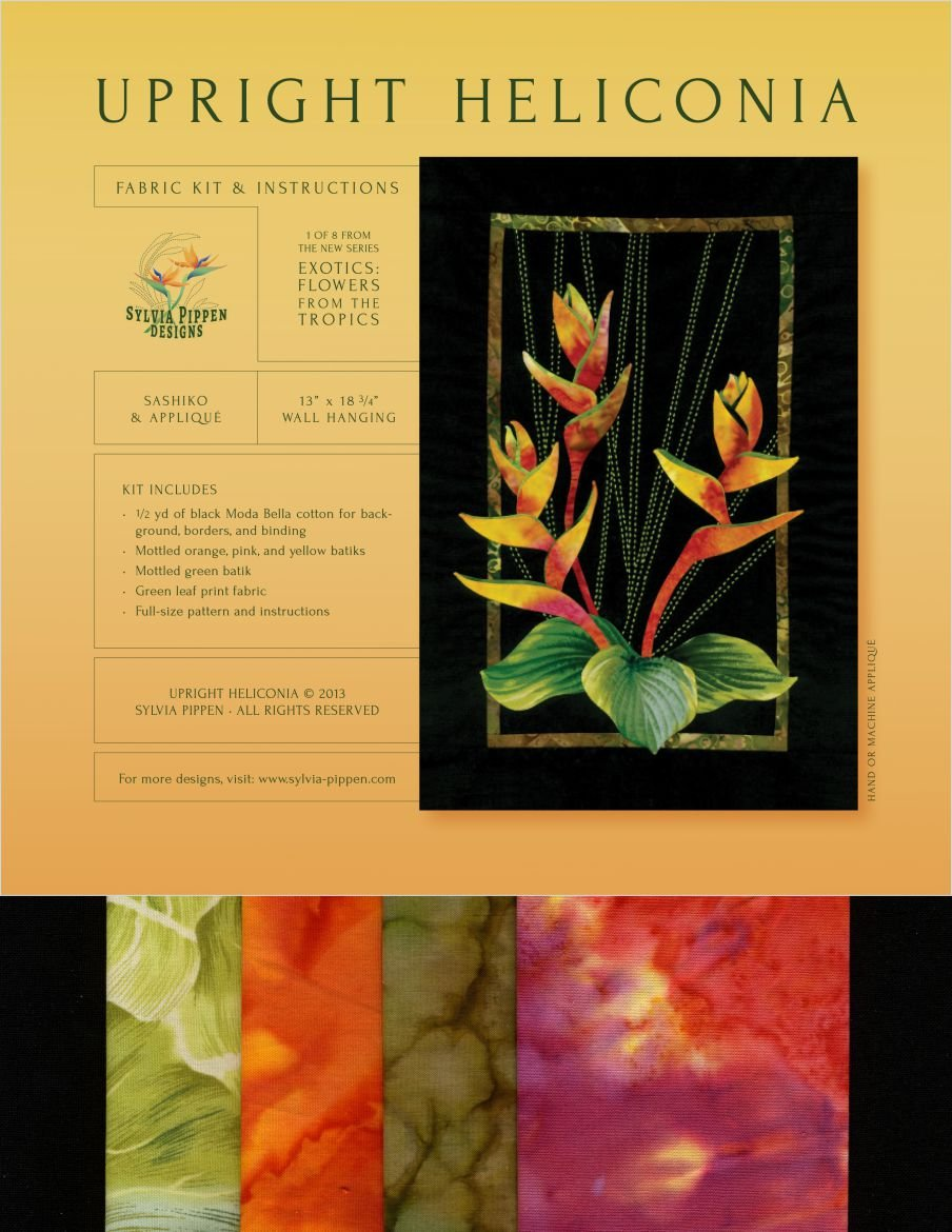 Upright Heliconia Exotic Flowers Sashiko & Applique Fabric Kit